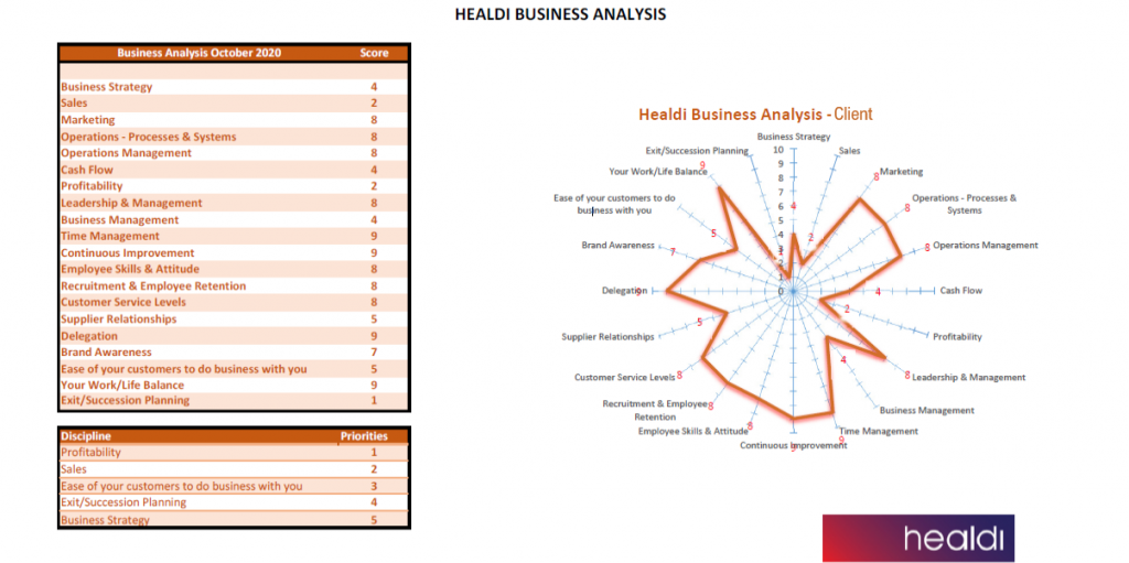 Layout for results of Business Analysis